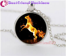 Gold Fire Horse Cabochon Glass silver necklace for women men Jewelry