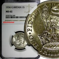 Great Britain George V (1910-1936) Silver 1936 1 Shilling NGC MS62  KM# 833