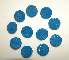 SET OF ELEVEN ANTIQUE TO EARLY VINTAGE BLUE SLAG GLASS BUTTON BUTTONS GOOD COND.