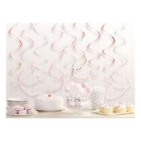 Rose Gold Blush Swirl Decorations 55.8cm Party Hanging Swirl Decorations x 12