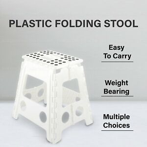 LARGE PLASTIC FOLDING STEP STOOL Chair Flat Outdoor Camping Easy Carry Storage