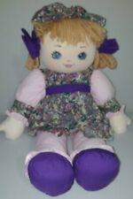 "Sweetie Mine Rag Doll Plush Well Made Toy Blonde Dress Bonnet Vintage 1995 21"""