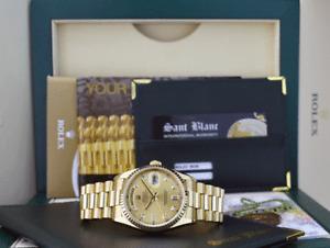 ROLEX Mens 36mm 18kt Gold DayDate President Champagne Diamond 18238 SANT BLANC