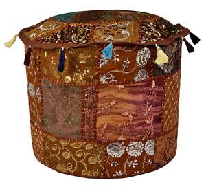 Indian Handmade Vintage Patchwork Cotton Ottoman Pouffe Cover Round Ethnic Decor