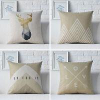 18inch Brown Nordic Geometric Linen Pillow Case Cushion Cover Sofa Decoration