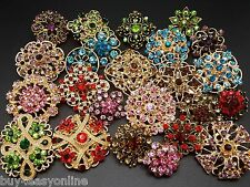 Brand 24pc/lot Mixed Vintage Style Gold Rhineston Crystal Brooch Pin DIY Bouquet
