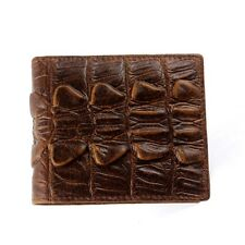 100% Genuine Real Skin Crocodile Alligator Leather Tail Bifold Mens Brown Wallet