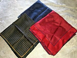 Ashear Silk Pocket Squares Hand Rolled Portugal LOT of 3 Navy Red Black Hankie