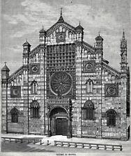 Monza: il Duomo. Grande Veduta. Lombardia. Stampa Antica + Passepartout. 1891