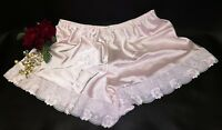 Vintage Retro Pink Deep Satin Lace French Knickers Sissy Size 26/28   (58)
