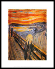 Edvard Munch the Scream póster imagen son impresiones artísticas con marco de aluminio en negro 36x28cm