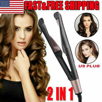US Hair Curler Straightener Twist Curling Flat Irons Styler Tourmaline Ceramic