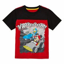 New-Size S(4)-Disney by Okie Dokie-Boys Tee-Short-Sleeve-Mesh-Red-Mickey Mouse