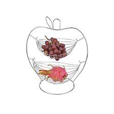 2 Tier Fruit Basket Apple Shaped wire rack stand metal storage