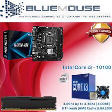 KIT SCHEDA MADRE H410M PROCESSORE INTEL I3 10100 COMETLAKE 8GB RAM DDR4 DVI/HDMI