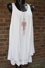 Kleid Strand Trägerkleid Sommer Hippie Ibiza Weiß Häkel Süß 36-38-40 Lagenloock