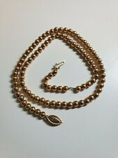 """14k Yellow Gold Vintage Bead 5mm Floating Ball Necklace Choker 15.5"""",  9.5 grams"""