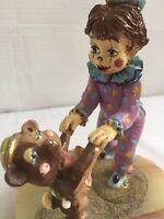 "1985 Ron Lee Boy Clown Dancing with Cub Bear 24Gold Plated 7""x 5 1/2""x 4 3/4"""