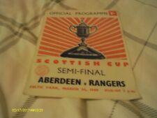 ABERDEEN V RANGERS SCOTTISH CUP SEMI FINAL PROGRAMME 1969