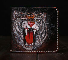 UNIQUE Fashion Genuine Leather hand painted individual short tiger wallet