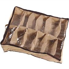 12 Cases Shoes Storage Organizer Shoes Holder Bag Box Under Bed Closet Brown