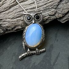 Antique Silver Tone Owl Opalite Pendant Necklace On Silver Plated Chain