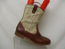 N.D.C. Brown Leather Tan Canvas Ankle Fashion Boots Bootie Size 36 EUR