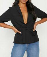 PRETTYLITTLETHING Petite Black Cargo Pocket Tie Shirt UK 10 US 6 EU 38 (PLT3)