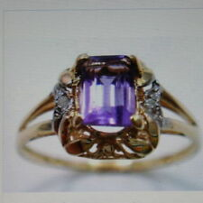 Emerald Natural Amethyst Yellow Gold Fine Rings