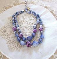 Vintage Beautiful Blue & Purple Beaded Two Strand Necklace C. Mid Century
