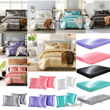 Silk Satin Duvet Cover Silky Bedding Set Fitted Sheet Pillow Cases Cushion Size