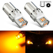 JDM ASTAR 2x 1156PY BAU15S 7507 Amber Yellow 12 SMD 3020 Turn Signal LED Bulbs