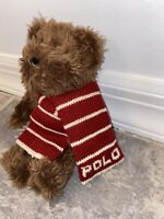 "Ralph Lauren Polo Plush 9"" Brown Teddy Bear 2003 Red Striped Knit Scarf Toy Nice"