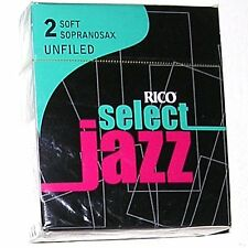 1 Box of 10 DAddario/Rico Select Jazz Reeds for Soprano Sax. 2-Soft (2S) Unfiled