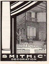 SMITH & CIE DECORATION MEUBLES DE QUALITE PARIS NICE PUBLICITE 1926 FRENCH AD