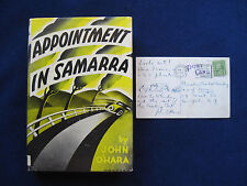APPOINTMENT IN SAMARRA wi AUTOGRAPH POSTCARD SIGNED by JOHN O'HARA