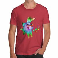 Twisted Envy Men's Astronaut Riding Space Cat Funny T-Shirt