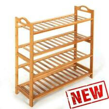 4 SHOE RACK TIER NATURAL BAMBOO WOODEN ORGANIZER STAND STORAGE SHELF UNIT