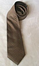 TOM ENGLISH MEN'S NECK TIE - BROWN DIAGONAL STRIPED  DESIGN - PURE SILK