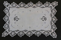 Pretty white linen tray cloth with white embroidery, cutwork and crochet edges.