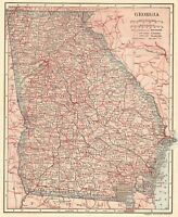 1907 Antique Map of GEORGIA Vintage Georgia State Map Gallery Wall Art 7791