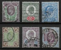 KEVII Low Values(6).Very Fine Condition With Fresh Colours & Neat Pmks. Ref.0824