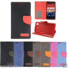 For HTC Desire 626 / 626s /530 Denim Wallet Folio Cover w/ID Slot Pouch Case