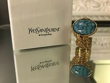 New Yves Saint Laurent Arty Ovale Ring Gold Turquoise Glass 6 *As On Celebs*RARE