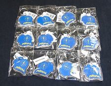 Key Ring w/Acrylic Fob ~ Indiana State Seal On Ball Cap ~ Lot of 12 Pieces