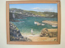 Original Oil Painting Coverack Bay Cornwall Alf Feltham 1979 Girl on beach