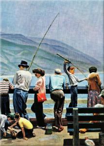 Fishing Saturday Evening Post Fridge Locker Magnet 2.5 x 3.5