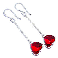 """925 Solid Sterling Silver Red Garnet Natural Gemstone Jewelry Earring 2.22"""""""
