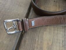 Coach Harness Leather Belt Mens Size 34 Brown Silver Buckle