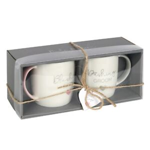 Blushing Bride and Dashing Groom Mug Set, Boxed Wedding Gift, Set of 2 Cups